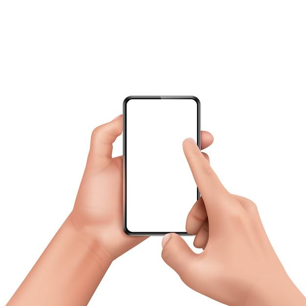 3d mão humana realista segurando smartphone e tela tocante. Vetor grátis