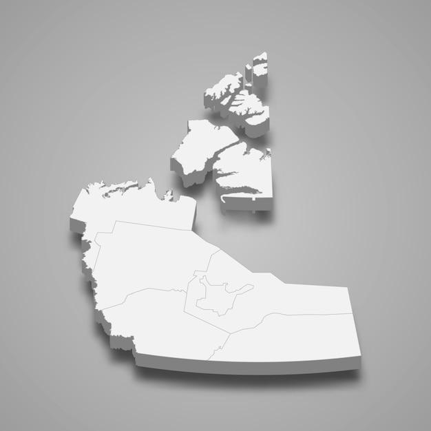 3d map province of canada Vetor Premium