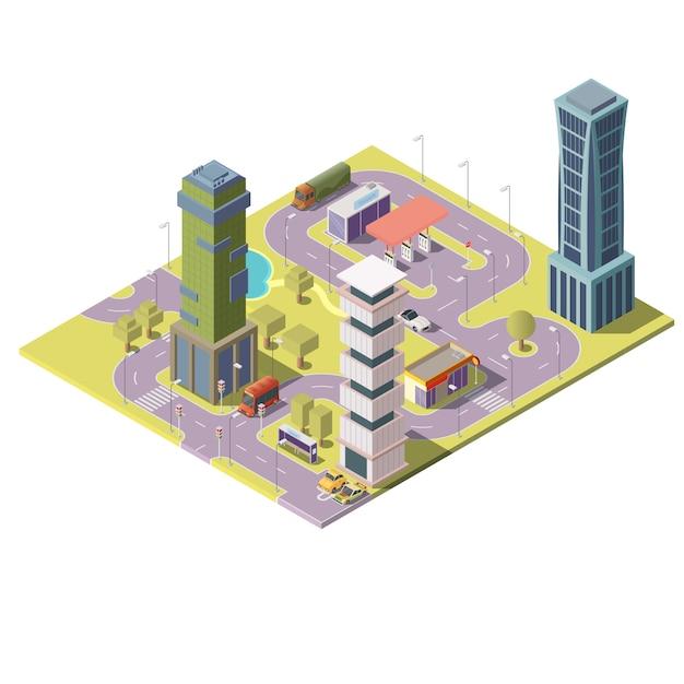 3d mapa isométrico da cidade com edifícios Vetor grátis