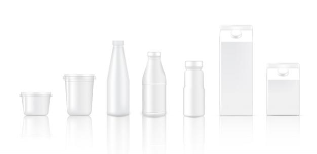 3d mock up realistic bottle cup e caixa para embalagem de leite Vetor Premium