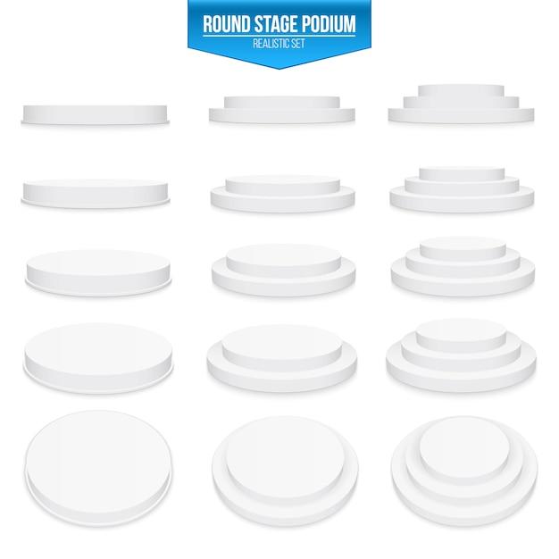 3d rodada fase pódio, pedestal, plataforma, cena Vetor Premium
