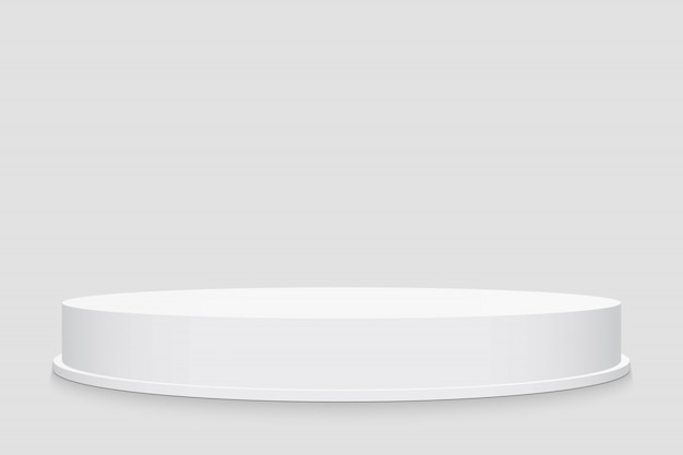 3d rodada fase pódio, pedestal, plataforma, cena. Vetor Premium