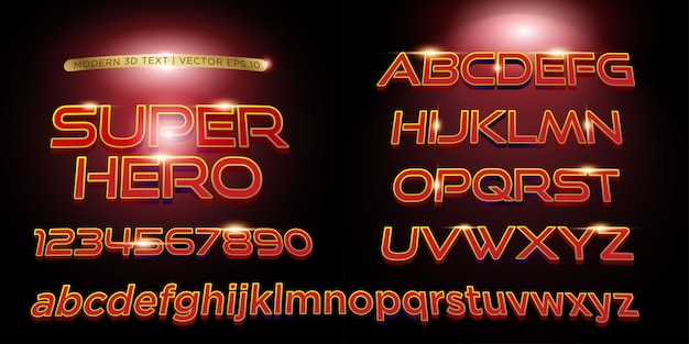 3d superhero estilizado letras de texto Vetor Premium