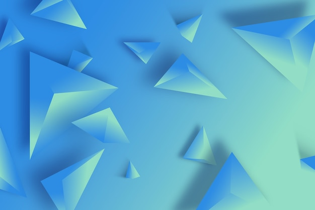 3d triângulo fundo azul monocromático Vetor grátis