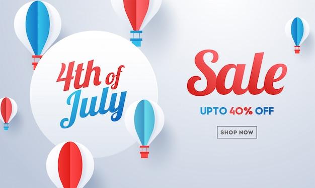 4 de bandeira de venda de julho Vetor Premium