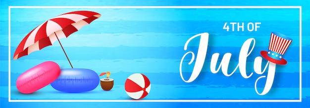 4 de cabeçalho de celebração de julho ou banner design Vetor Premium