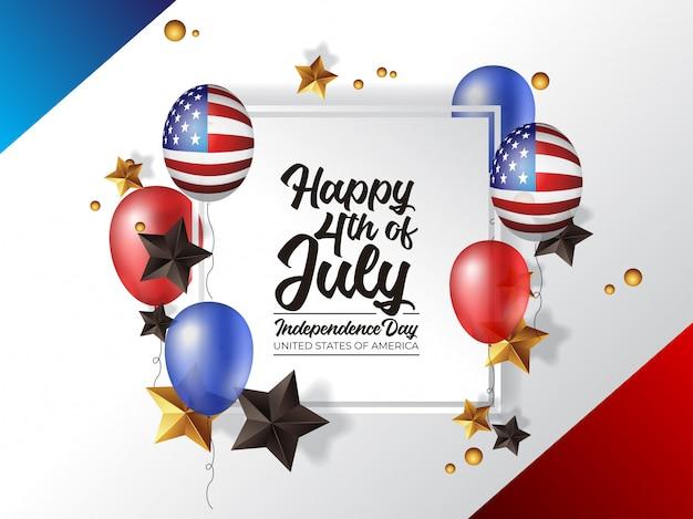 4 de julho dia da independência américa com balão realista Vetor Premium