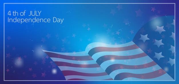 4 de julho dia da independência celebração banner Vetor Premium