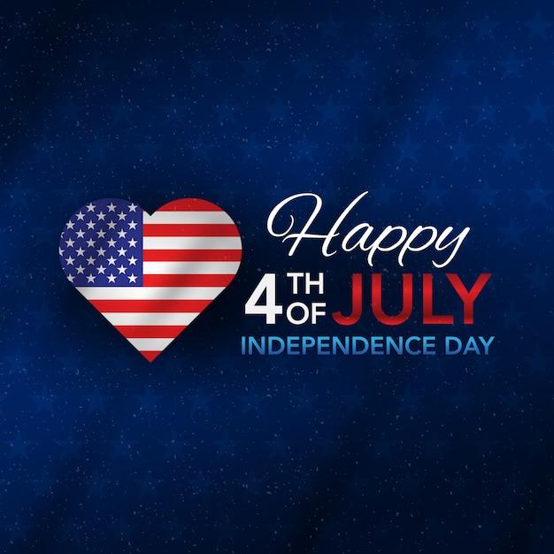 4 de julho dia da independência com amor Vetor Premium