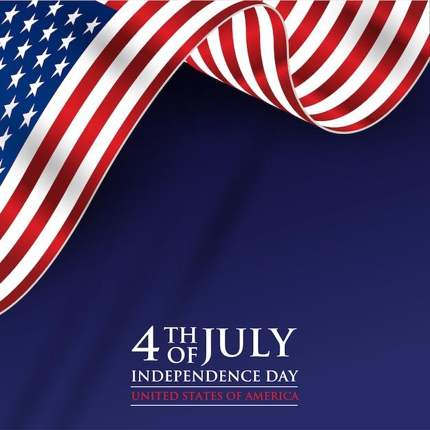 4 de julho dia da independência com bandeira realista Vetor Premium