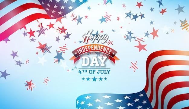 4 de julho dia da independência da ilustração vetorial eua Vetor Premium