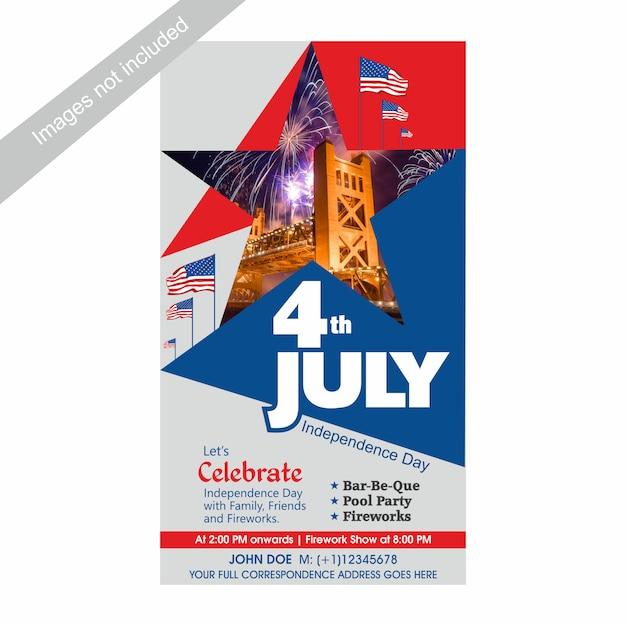 4 de julho dia da independência dos eua convidar modelo com churrasco, festa na piscina e atração de fogos de artifício. Vetor Premium