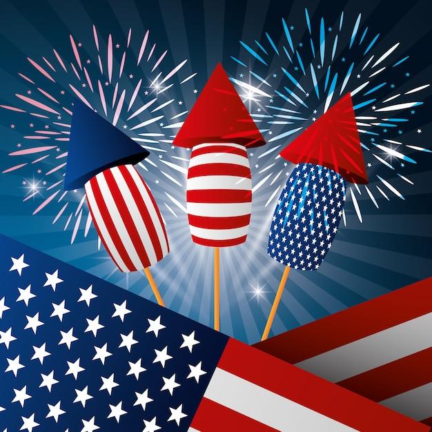 4 de julho dia da independência eua celebração Vetor grátis