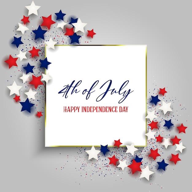 4 de julho dia da independência eua com moldura de ouro e estrelas Vetor grátis
