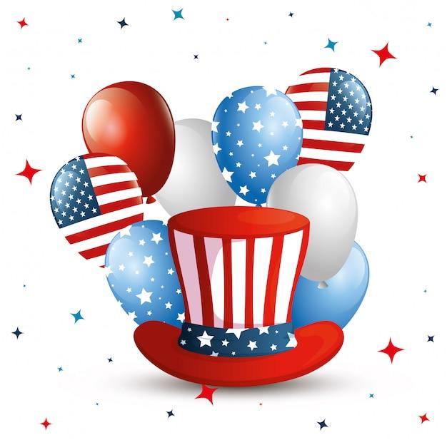 4 de julho feliz dia da independência com cartola e decoração Vetor Premium