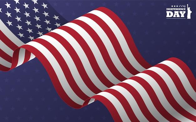 4 de julho feliz dia da independência da américa. estátua da liberdade design plano silhueta com texto e acenando bandeira americana oblíqua Vetor Premium