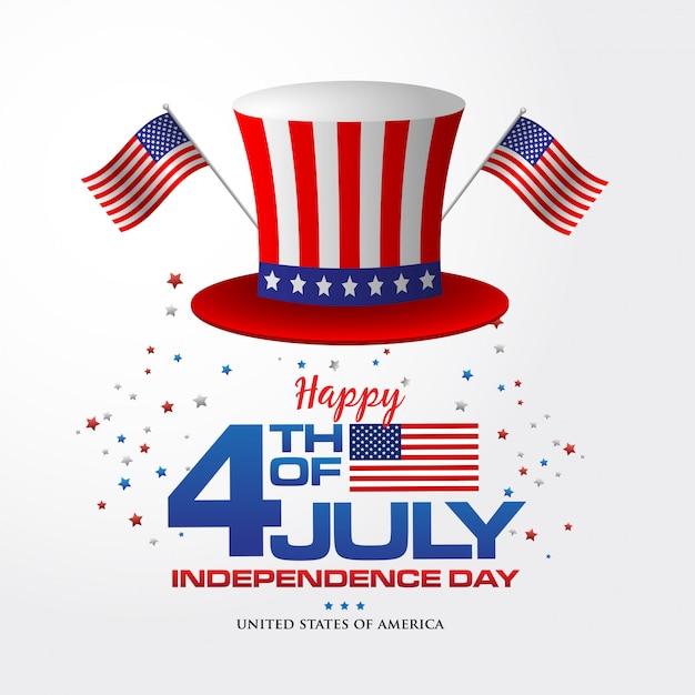 4 de julho. feliz dia da independência de fundo da américa com bandeira e chapéu americano, símbolo da américa Vetor Premium