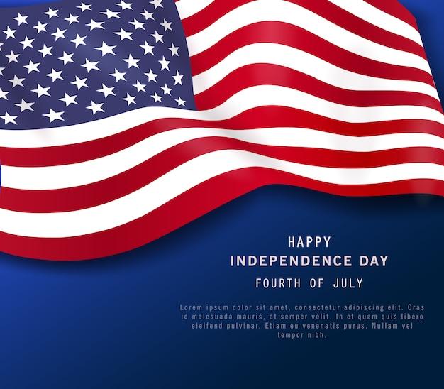 4 de julho feriado banner. cartaz do dia da independência americana ou flyer, fundo azul marinho Vetor Premium