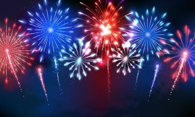 4 de julho fogos de artifício Vetor Premium