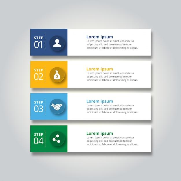 4 passos de infografia com azul-amarelo céu azul e cor verde Vetor grátis