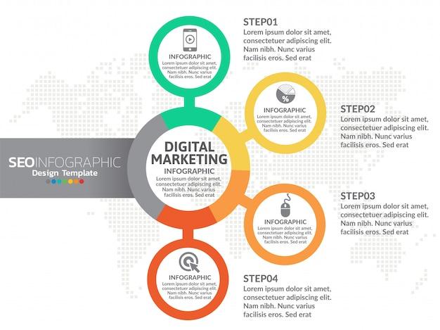 4 peças infográfico design vector e marketing ícones Vetor Premium