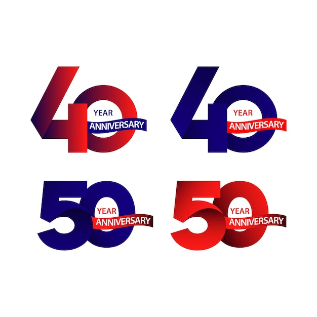 40,50 anos de aniversário Vetor Premium