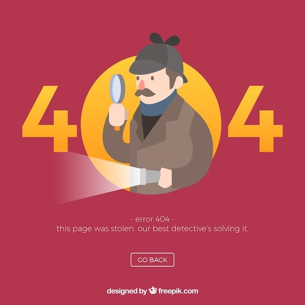 404 conceito de erro com detetive Vetor Premium