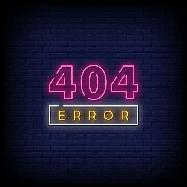 404 erro sinais de néon estilo texto vetor Vetor Premium