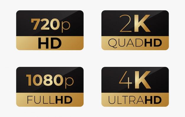 4k ultrahd, 2k quadhd, 1080 fullhd e 720 hd stikers Vetor Premium