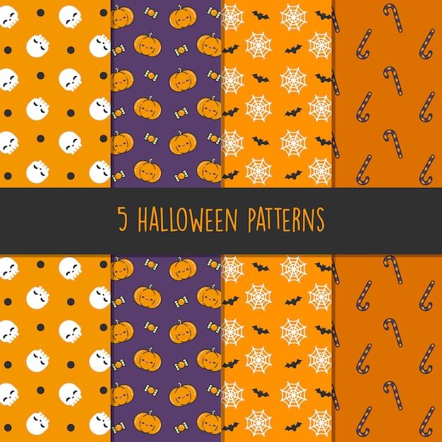 5 diferentes padrões de vetores de halloween. textura sem fim pode ser usada para papel de parede, preenchimentos de padrão, página web, plano de fundo, superfície - vetor Vetor Premium