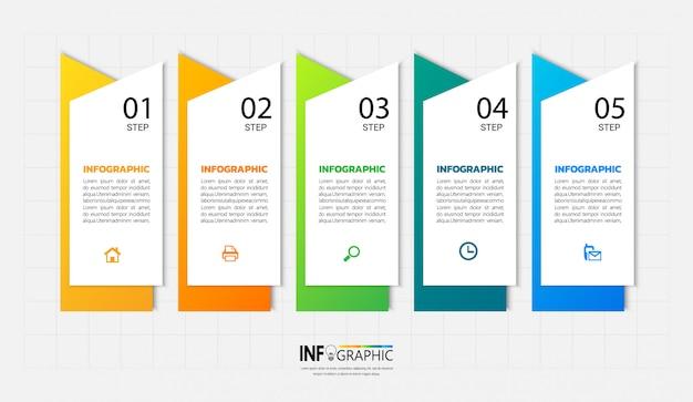 5 etapas infográfico Vetor Premium