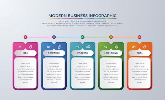 5 etapas ou processo infográfico cronograma com cor diferente Vetor Premium