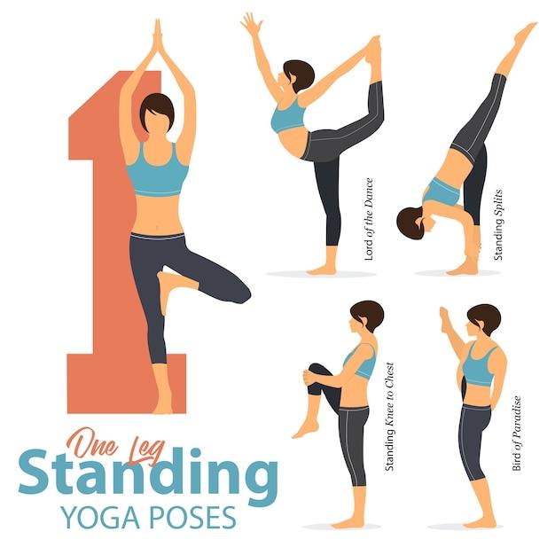5 poses de ioga em uma perna em pé poses em design plano. Vetor Premium