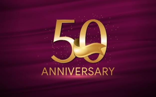 50º aniversário com ilustrações 3d figuras ouro papel de parede / fundo Vetor Premium