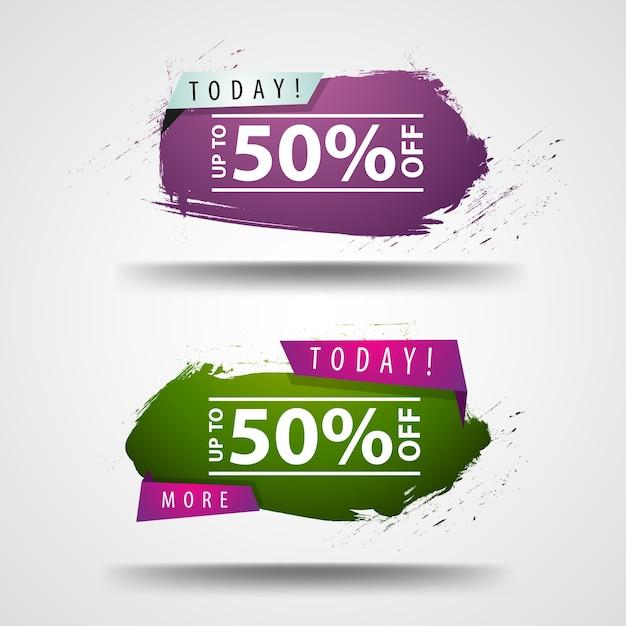 50% de desconto. dois banners modernos Vetor Premium