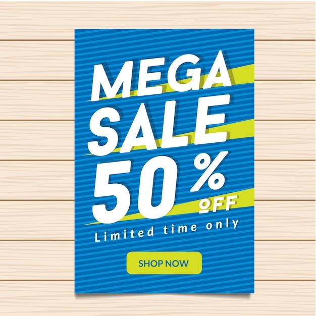 50% de desconto mega sale banner illustration Vetor Premium