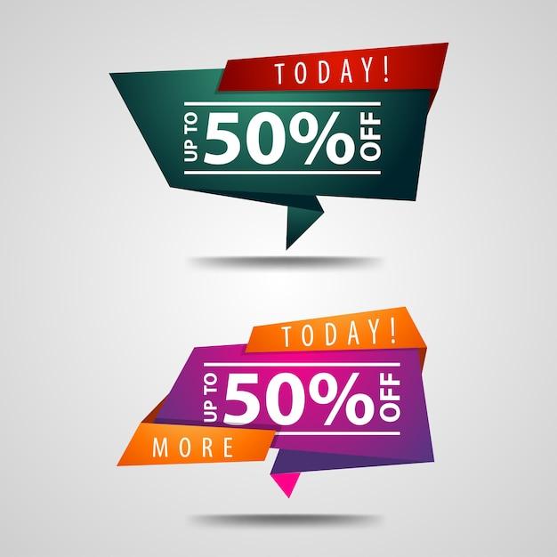 50% de desconto no banner Vetor Premium