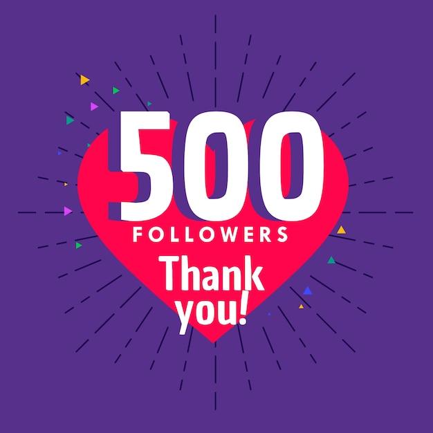500 seguidores saudações para modelo de rede de redes sociais Vetor grátis