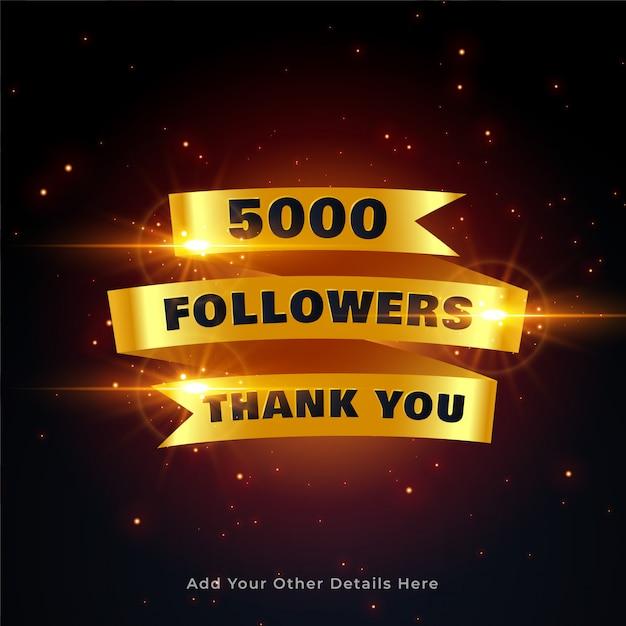5000 seguidores obrigado fundo em estilo dourado Vetor grátis