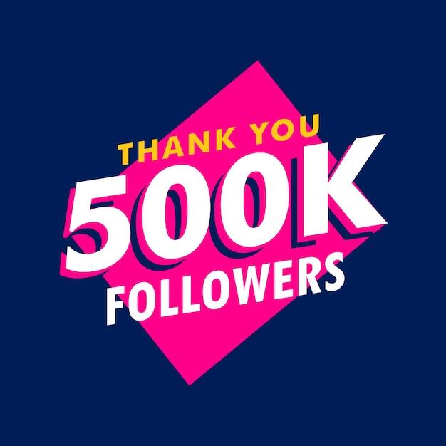 500k seguidores obrigado mensagem em estilo funky Vetor grátis