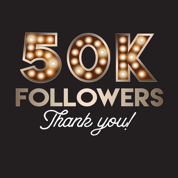 50k seguidores obrigado bandeira Vetor Premium