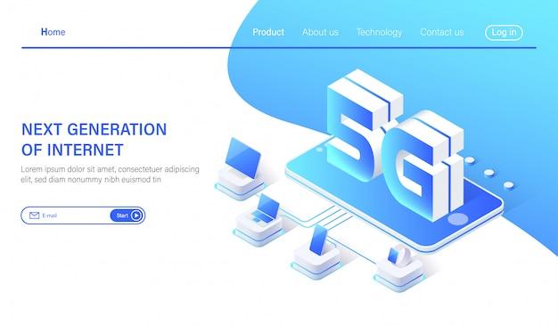 5g internet conceito de rede de comunicação Vetor Premium