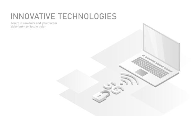 5g nova conexão sem fio à internet wi-fi. dispositivo móvel portátil isométrico Vetor Premium