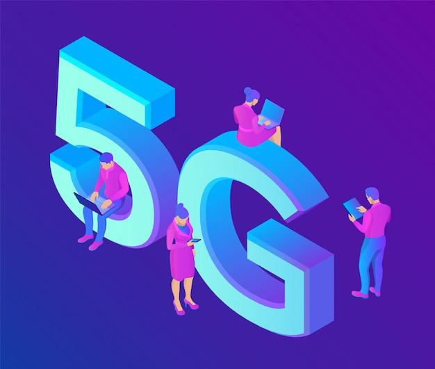 5g rede internet conceito de tecnologia móvel com caracteres. sistemas sem fio 5g e internet das coisas. Vetor Premium