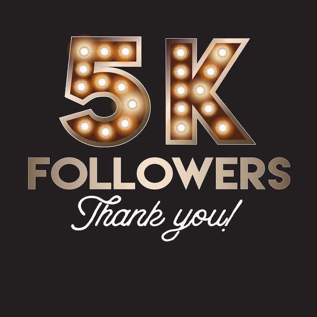 5k seguidores obrigado bandeira Vetor Premium