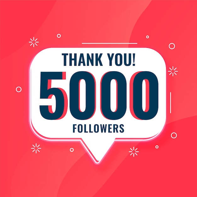5k social media followers obrigado bandeira Vetor grátis