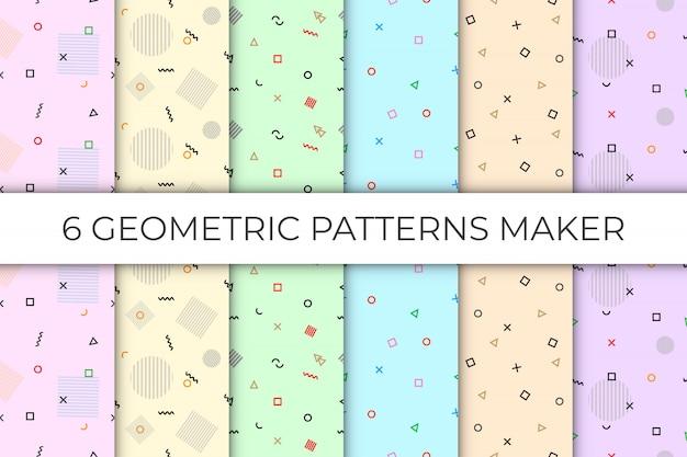 6 coleções de padrão geométrico sem costura no pano de fundo pastel Vetor Premium
