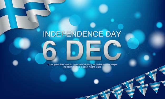 6 de dezembro, finlândia, voando ballons e bandeira de ondulação. Vetor Premium