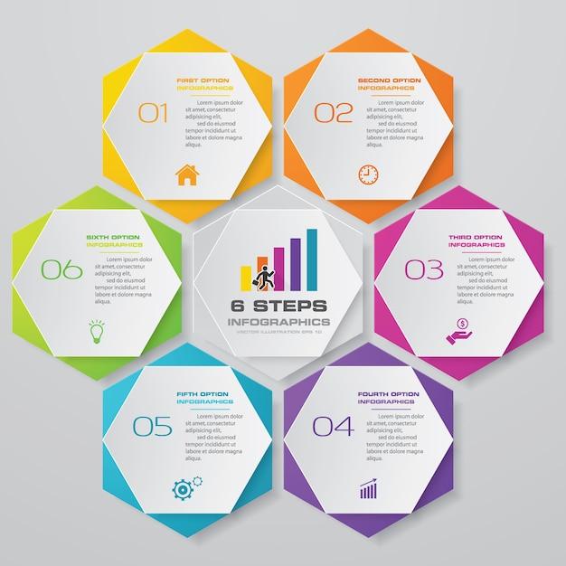 6 etapas processam o elemento de infográficos do gráfico. Vetor Premium