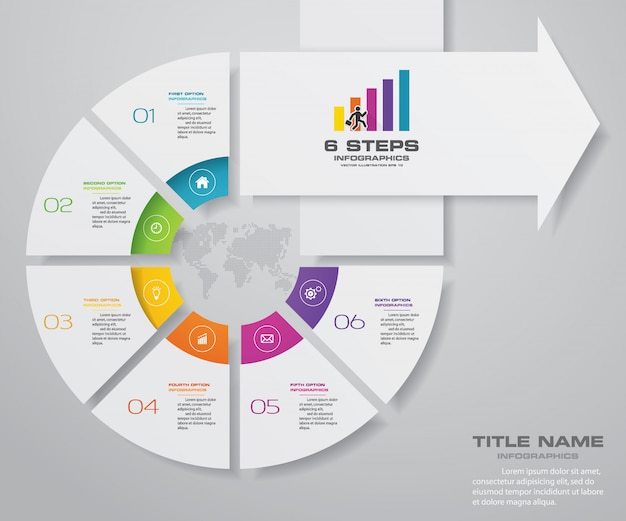 6 passos infográficos elemento seta modelo gráfico. Vetor Premium